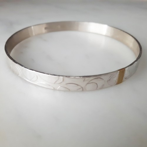 Textured Bangle With 18ct Gold Detail