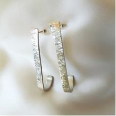 Textured Wide Bar Earrings
