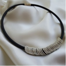 Rubber Necklet with Silver Rings